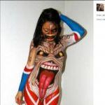 Eddie z Iron Maiden wymalowany na nagich ciałach - mistrz bodypaintingu w hołdzie dla Iron Maiden [ZDJĘCIA]